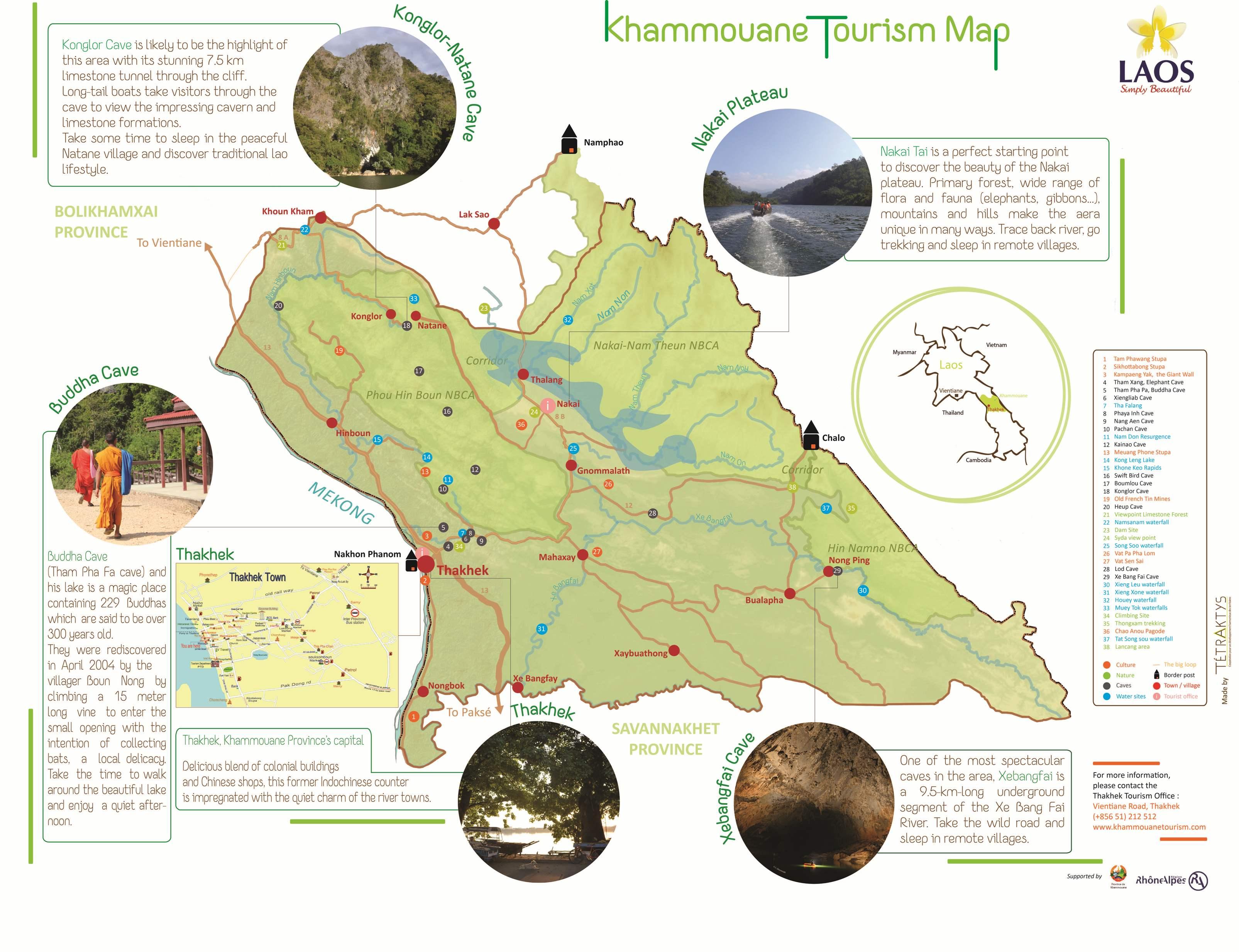 Panneau Khammouane Tourism Map Tétraktys