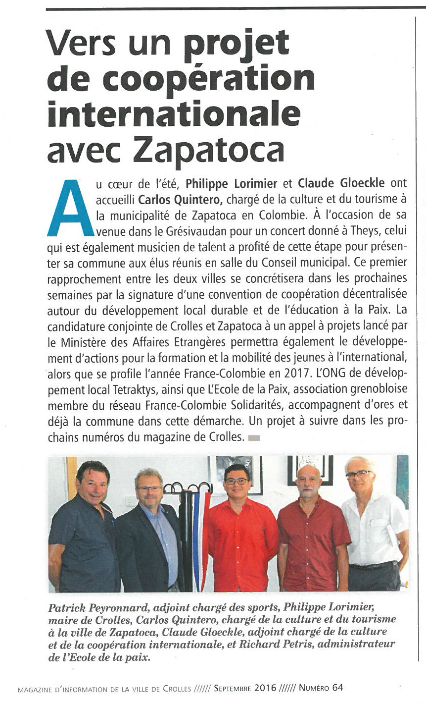 Article Crolles Zapatoca